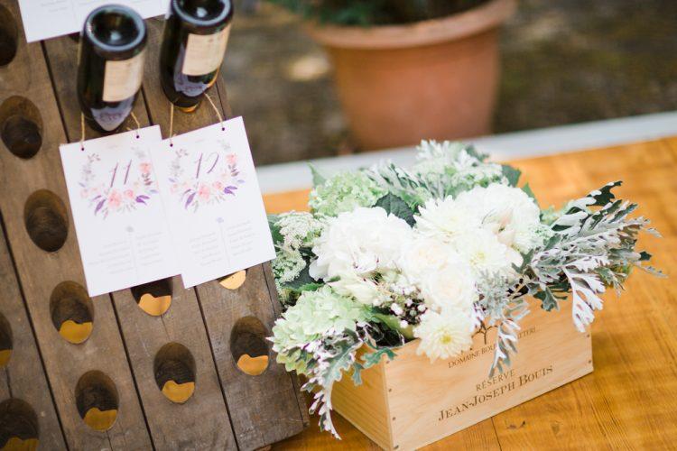 boite à fleur en bois décoration pour mariage chic et champêtre