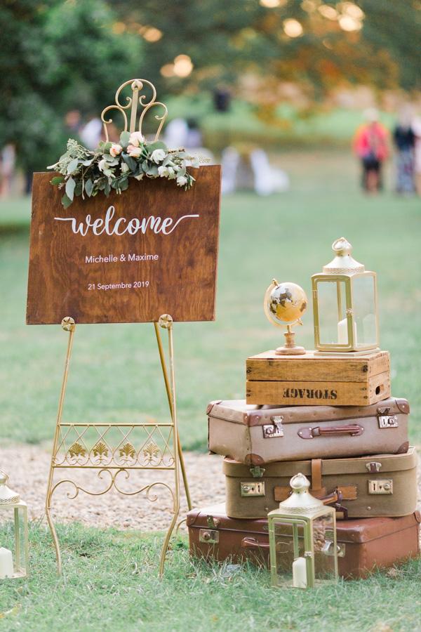 panneau en bois welcome mariage, photographe de mariage Metz